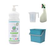 met ECODROP 1L, groene emmer 6L, maatbeker 500 ml en groene verstuiver