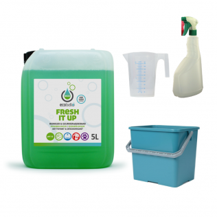 met FRESH IT UP 5L, emmer 6L groen, maatbeker 500 ml en verstuiver
