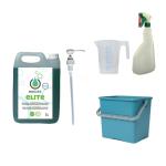 met ELITE 5L, groene emmer 6L, maatbeker 500 ml en groene verstuiver