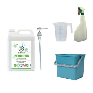 met ECODROP 5L, emmer 6L groen, maatbeker 500 ml en verstuiver